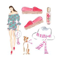 bethbriggsillustrationAlways ready for resort wear.....from espadrilles to cotton lawn prints to simple fedoras with striped grosgrain ribbons....these are a few of my favorite things
