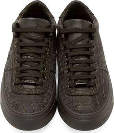 Jimmy Choo Black Croc-Embossed Portman Sneakers Best Shoes For Men bc4c448ca