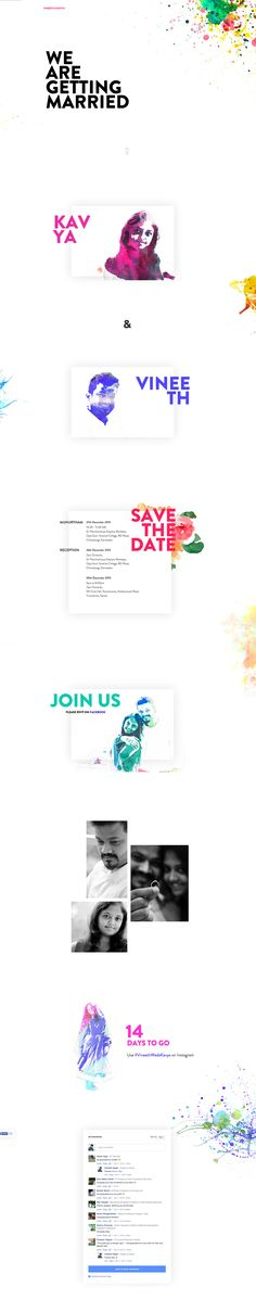 Lovely watercolor painting theme in this One Pager celebrating the upcoming marriage of Indian couple Vineeth and Kavya. Vineeth has two features with us already for his free DribbbleFolio template and free Responsive Grid System CSS Framework. All the best Vineeth!