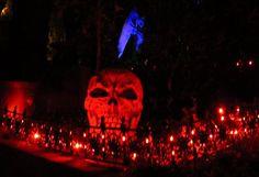 Giant skull prop well lighted.