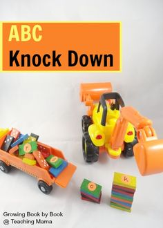 alphabet learning game: ABC Knock Down guest post for Teaching Mama Alphabet Learning Games, Learning Games For Preschoolers, Teaching The Alphabet, Preschool Learning Activities, Alphabet Activities, Kids Learning, Reading Activities, Teaching Ideas, Prek Literacy