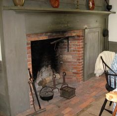"""Murder on Black Friday: """"The kitchen was enormous but gloomy. Occupying most of the back wall was a fireplace in which a copper wash boiler simmered away over low flames, a three-pronged dolly stick balanced across its top."""" (The kitchen of the Foster-Tufts House at the Genesee Country Museum)"""