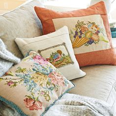 Crewelwork and needlepoint were once a common pastime for women. But the lovingly created samples were often framed in ways now considered dowdy, which is why you'll find so many pieces in flea markets and secondhand shops. To freshen the handiwork, ditch the frame and work the needlepoint into an accent pillow. Hand-stitch each piece atop an existing pillow or sew the embroidery into a new pillow cover with fabric that coordinates with your home's palette./