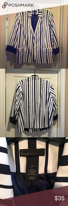 Navy Striped Blazer New without tags, never worn, perfect condition. Looks great with Navy or White pants, or dressed down with dark denim jeans! Lane Bryant Jackets & Coats Blazers