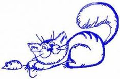 hand drawn cat free embroidery design 3