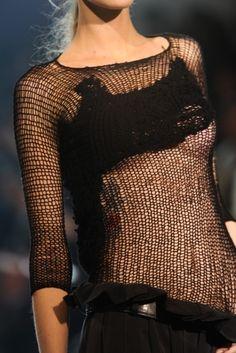 yohji yamamoto knitting ♦F&I♦ Dark Fashion, High Fashion, Knit Fashion, Womens Fashion, Fashion Fashion, Streetwear, Fashion Details, Fashion Design, Lingerie