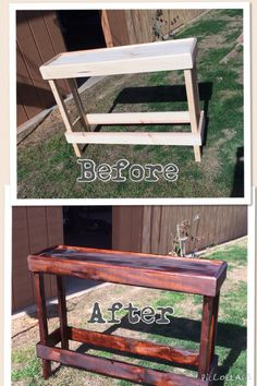 Morgan and I finally stained this table my son Kevin made for me.