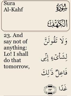 18 Sura Al-Kahf, Aya 23 - via #Quran Tafsir app by #Pakdata