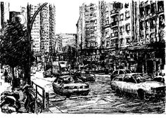 Plaza de España desde la Gran Via de Madrid. Tamaño A4. dibujo a bolígrafo negro