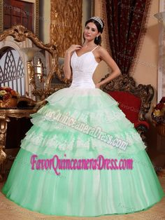 New Straps Appliqued White and Apple Green Quince Dress in Organza Taffeta