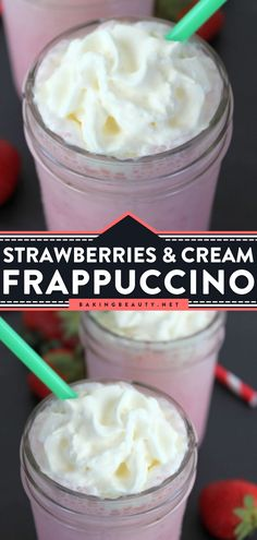 Strawberries and Cream Frappuccino is an easy summer drink with juicy strawberries and rich whipped cream! This Starbucks copycat is the perfect non-alcoholic summer drink that is delicious and way cheaper! Save this pin! Frozen Strawberry Recipes, Strawberry Drinks, Coffee Drink Recipes, Summer Drink Recipes, Non Alcoholic Drinks Hot, Starbucks Strawberry, Frappuccino, Strawberries And Cream, Quick Easy Meals