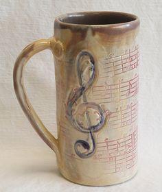 Stoneware Music Script 20oz Coffee Mug Handmade Ceramic 20c070