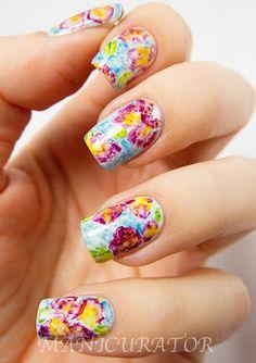 Watercolor Flowers Nail Art
