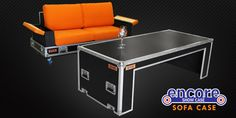 Road case sofa, designed by perry swavley, DQ product.  Has phone chargers in armrests.