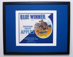 1940s Original Blue Winner Brand Apples, Fruit Crate Label w. New Conservation Framing, Okanogan WA. USA USA                by FruitCrateLabelArt, $95.00