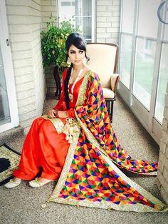 Punjabi patiala salwar suit with colorful phulkari, traditional jewellery rani har and paranda :) Indian Suits, Indian Attire, Indian Dresses, Indian Wear, Designer Punjabi Suits, Indian Designer Wear, Punjabi Fashion, Indian Fashion, Patiala Salwar Suits