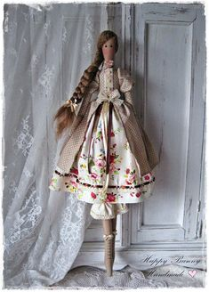 Tilda doll Tilda doll Mademoiselle Juliette Handmade doll Primitive doll Fabric Doll Textile doll Homedecor This cute handmade doll has a body which is based on a Tilda pattern. This lovely doll is wearing a polka dot coat with puffed sleeves and under her coat she wears dress