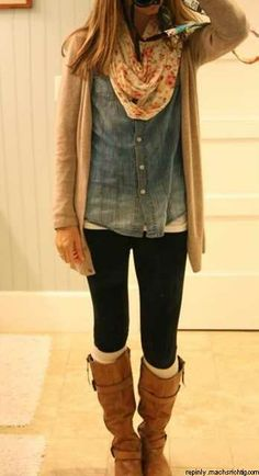 Denim shirt, cardigan, scarf, skinny jeans and boots. Winter casual!