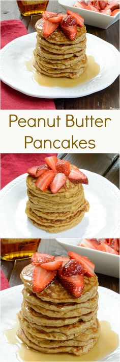 Fluffy Peanut Butter Pancakes - low fat, high protein, gluten free pancakes are the perfect way to start the day!