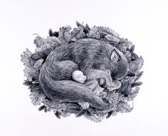 Tomoko Konoike Autumn – six legs wolf and mimio pencil on paper 53.8 x 78cm 2005 秋 - 六本脚狼&ミミオ