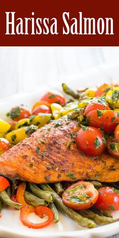 salmon, rubbed with Moroccan harissa spice, roasted with green beans ...