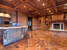 """Normandie"" pattern parquet flooring by parquet by DIAN. Michael Jackson's Home- Carolwood Dr., Holmby Hills, Ca."