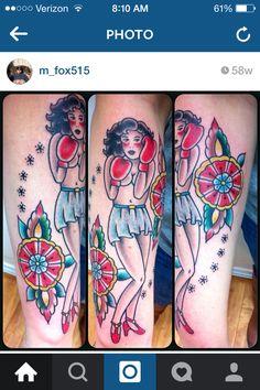 Woman Boxing Tattoo