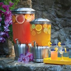 Durachill Beverage Dispenser from Frontgate. Has separate ice chamber in the middle to keep drinks cool