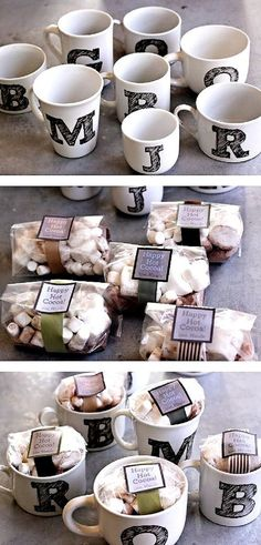 Get cups, paint letter of first name, fill with hot chocolate mix and marshmallows. Dip a spoon in chocolate and wrap up for a gift!