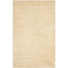 Safavieh Monterey Shag Collection SG851C Handmade Cream Polyester Area Rug, 4 feet by 6 feet (4′ x 6′)