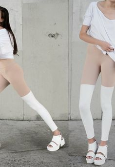 PANTS-NO-PANTS MINIMALIST NUDE WHITE THIGH HIGH LEGGINGS