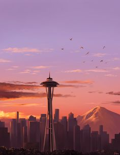 I painted a Seattle sunset : Seattle Seattle Wallpaper, City Aesthetic, Aesthetic Pics, Moving To Seattle, Seattle Area, City Landscape, Seattle Washington, Greys Anatomy, Grunge