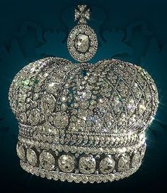 The small Imperial Crown of Russia: This crown was created in 1856 by Russian Court Jewelers & made from silver & diamonds for Alexander II's wife, Maria Alexandrovna, who later presented it to her beloved daughter-in-law Dagmar-Minnie-Marie Feodorovna.