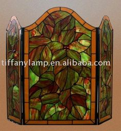 Tiffany stained glass fire screen http://www.sfbayhomes.com #sfbayhomes.com