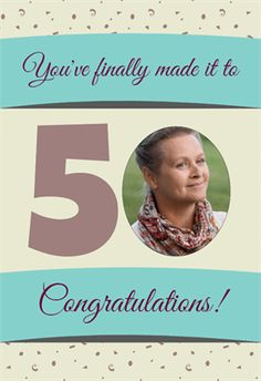 """""""Fifty and Fine"""" printable card. Customize, add text and photos. Print for free!"""