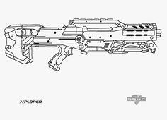 nerf gun outlines - Google Search | Nerf | Pinterest | Guns, Nerf ...