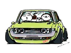 "CRAZY CAR ART ""DARUMA CELICA"" original characters ""mame mame rock"" / © ozizo + Official web shop ""STAY CRAZY (in Society6)"" https://society6.com/mame_ozizo + Official web shop ""ozizo(in Redbubble)"" http://www.redbubble.com/people/ozizo + ""Crazy Car..."