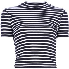 T BY ALEXANDER WANG striped t-shirt ($184) ❤ liked on Polyvore featuring tops, t-shirts, shirts, crop tops, blusas, striped t shirt, blue stripe shirt, t shirts, high neck t shirts and blue short sleeve shirt