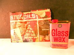 Vintage Full Can Gold Seal Glass Wax Cleaner Tin & Christmas Window Stencils Christmas Window Stencils, Glass Wax, Back In My Day, Best Memories, Tin, Seal, Nostalgia, Windows, Canning