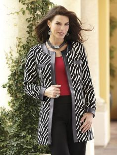 Zebra Jacket from Midnight Velvet®. Trimmed in soft faux leather, it adds animal magnetism to many ensembles. www.midnightvelvet.com