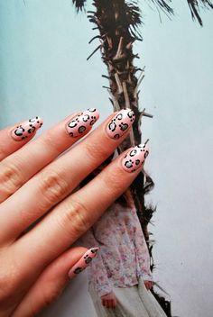leopard print nail art.
