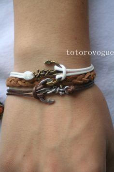 bracelet anchor bracelet double anchor bracelet by totorovogue