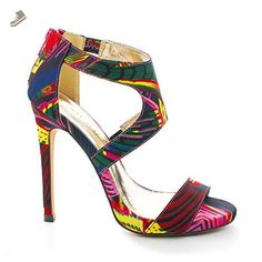 ba8cbe499357f Jesse80 Multicolor Open Toe Abstract Design Cut Out Stiletto Dress Sandals-5.5  - Sullys pumps