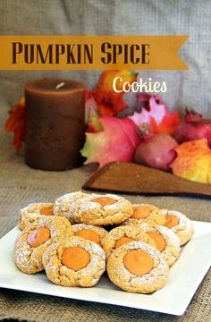 Pumpkin Spice Cookies with Pumpkin Hershey Kisses!  Made with cake mix, cream cheese, butter, and pudding mix.