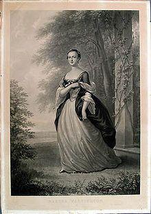 Martha Dandridge Custis in 1757, future wife of George Washington.