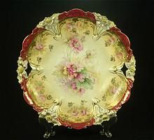 """R S Prussia 11"""" Open Handle Low Bowl, Lily Mold Floral With Red and Gold Trim"""