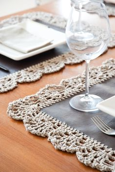 individuais com picot crochet