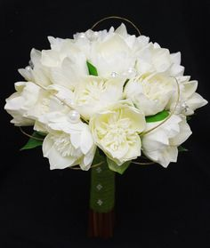 Wedding Natural Touch Ivory Lotus Peony Silk Flower Bride Bouquet   Almost  Fresh Part 39