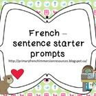 French sentence starter prompts/word wall words