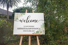 NZ Made Wedding Sign, Personalised names Floral Welcome print on Foamboard (Landscape) Unique Presents, Wedding Welcome, Personalized Signs, New Sign, Wall Signs, Wedding Signs, Signage, Wall Decals, Birthdays